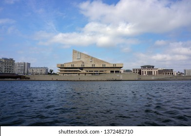 Russia, Kazan. July 21, 2018. View from tourist boat to the Tatar academic theatre named after Galiaskar Kamal.