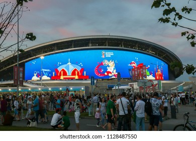 Russia, Kazan - July 6, 2018: Kazan Arena Stadium. Venue 2018 FIFA World Cup Russia. Play-off 1/4 final Brazil vs Belgium.