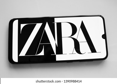 Russia, Kazan May 1 2019: Clothing store Zara. Zara logo on smartphone screen on white background