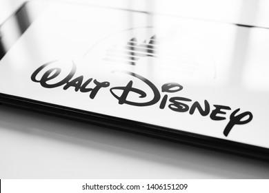RUSSIA, KAZAN MAY 1, 2019: Walt Disney company logo on the smartphone screen on a white background