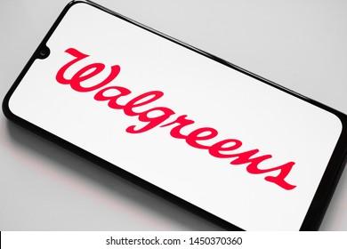 RUSSIA, KAZAN MAY 1, 2019: Walgreen Company logo seen displayed on smart phone