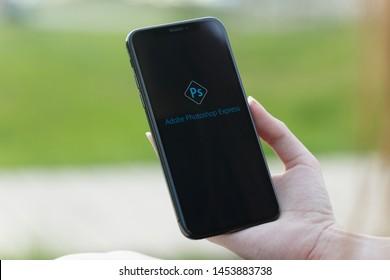 Russia, Kazan May 28 2019: Lightroom application on iPhone X screen. Lightroom photo processing program.