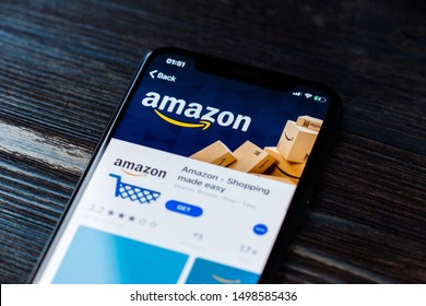 Russia, Kazan May 28 2019: Amazon shopping app icon on an Apple iPhone X close-up. Amazon shopping app icon.