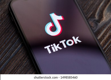 Russia, Kazan May 28 2019: Tik Tok application icon on Apple iPhone X screen close-up. Tik Tok icon. tik tok application. Tiktok Social media network
