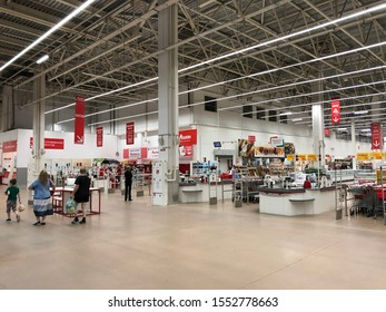 Russia, Kazan May 28, 2019: Emblem of the Lenta store against the blue sky. Lenta is one of the largest retail chains in Russia