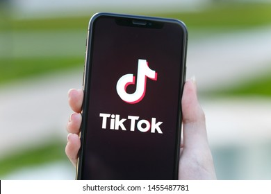 Russia, Kazan May 30, 2019: Tik Tok application icon on Apple iPhone X screen close-up. Tik Tok icon. tik tok application. Tiktok Social media network. Social media icon