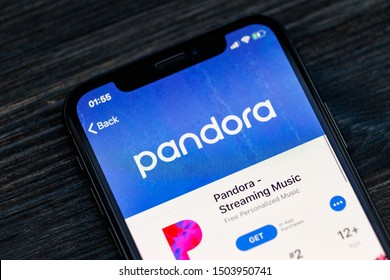 Russia, Kazan Sep 2 2019: Screenshot of the Pandora Music mobile app from Pandora Media, Inc. icon on an iPhone.