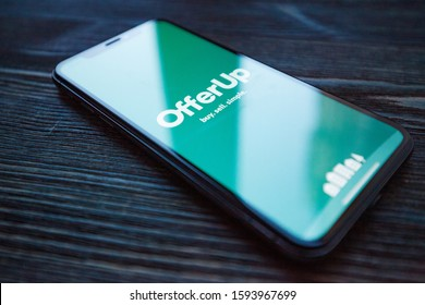 Russia, Kazan Sep 2 2019: Close-up shot of the OfferUp - Buy. Sell. Simple. application icon from OfferUp Inc. on an iPhone.