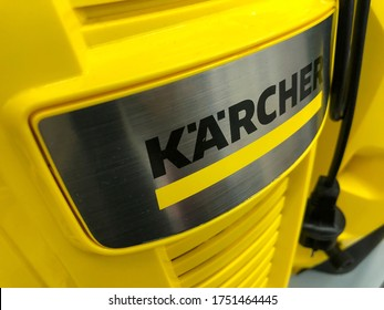 "Russia, Kazan Sep 2 2019: Machine-building plant of the company Karcher ""Alfred Karcher GmbH & Co. KG"". Unidentified worker collects high-pressure apparatus."