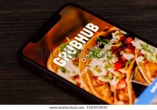 Russia, Kazan Sep 2 2019: GrubHub logo seen displayed on smart phone. Grubhub Inc. is an online and mobile food-ordering company that connects diners with local restaurants.
