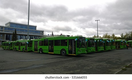 Russia, Kazan - September 14, 2016:Many new trolleybuses before driving on the streets of Kazan