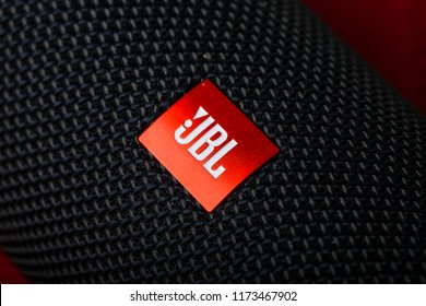 Russia, Kazan, September 5, 2018. close-up logo of JBL on the column