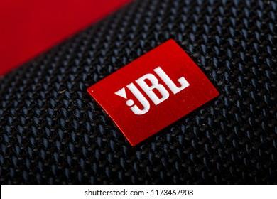 Russia, Kazan, September 5, 2018. close-up logo of JBL on the column