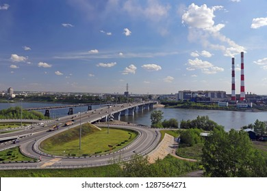 Russia, Kemerovo - 06 June, 2018.  Kuznetsk bridge over the river Tom. View of the city of Kemerovo
