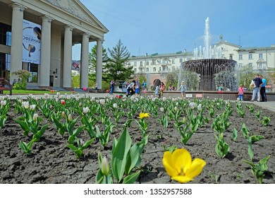 Russia, Kemerovo - 22.05.2016. The fountain near Kemerovo Regional Drama Theater. A. V. Lunacharsky