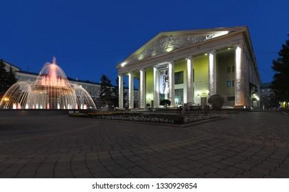Russia, Kemerovo - 29.07.2017. Kemerovo Regional Drama Theater. A. V. Lunacharsky. Night view