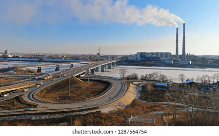 Russia, Kemerovo - 31 March, 2016.  Kuznetsk bridge over the river Tom. View of the city of Kemerovo