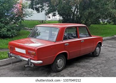 Russia, Kemerovo - 31.07.2017. Soviet car red Lada VAZ-2101