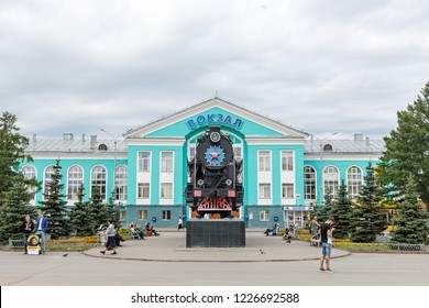 Russia, Kemerovo - July 21, 2018: L-3238 steam locomotive and Pa