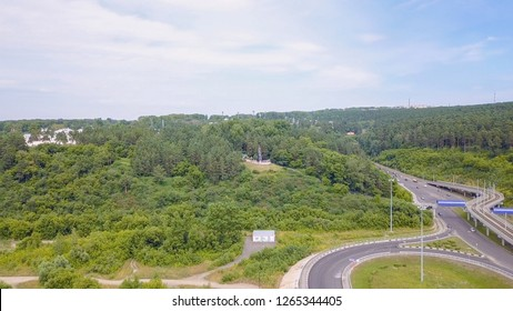 Russia, Kemerovo - July 21, 2018: Monument - Memory to the miners of Kuzbass. The city of Kemerovo. Russia, From Dron