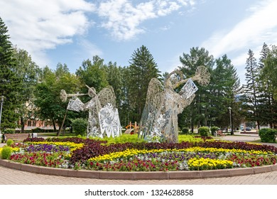 Russia, Kemerovo - July 21, 2018: Angels. The sculpture is set in the heart of the city of Kemerovo