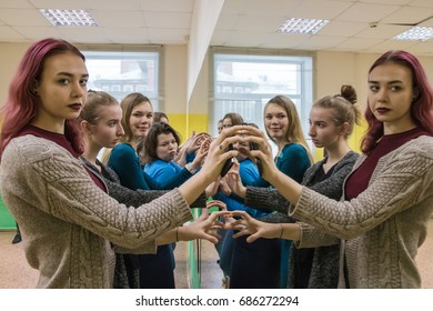 Russia, Kirov - April, 02, 2017: Girls in class for fashion models in the fashion Agency called The territory of the first in 2017 in Kirov city