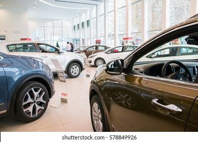 Russia, Kirov - December 05, 2016: Showroom and car KIA of dealership KIA-Zentr Kirov in Kirov city in 2016