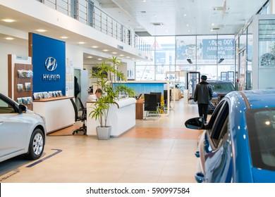 Russia, Kirov - December 06, 2016: Showroom and car of dealership Hyundai in Kirov city in 2016