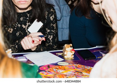 Russia, Kirov - February, 19, 2017: Game pops at the festival Time for play which includes plays for business and plays for coaching and teaching in Kirov city in 2017