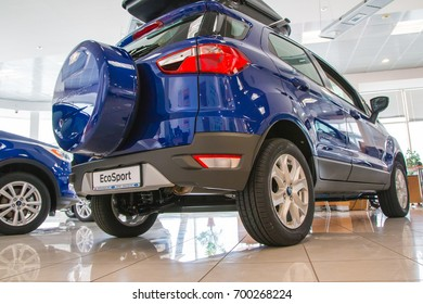 Russia, Kirov - March 01, 2017: Showroom and car of dealership Ford in Kirov city in 2017