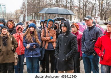 Russia, Kirov - May, 14, 2017: Group of people during historical tours in spring in Kirov city in 2017