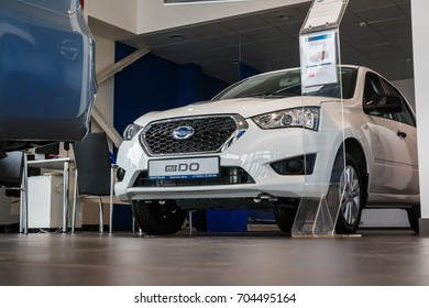 Russia, Kirov - May 16, 2017: Showroom and car Datsun of dealership Prestig avto in Kirov city in 2016