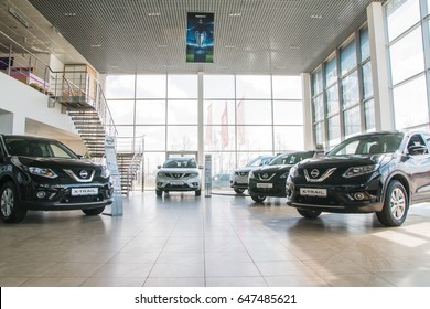Russia, Kirov - My 15, 2017: Showroom and car dealership Nissan in Kirov city in 2017