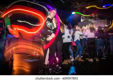 Russia, Kirov - November, 13, 2016: Big party for young people in Kirov city in 2016