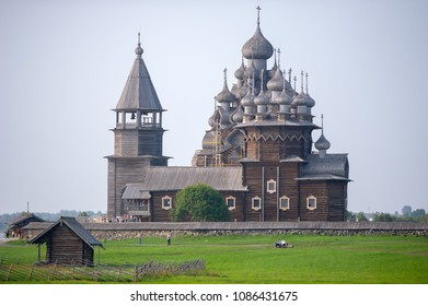 RUSSIA, KIZHI ISLAND - AUG 2, 2013: Kizhi Pogost - UNESCO World Heritage. Church of the Transfiguration. The ensemble of wooden architecture in Kizhi island. Kizhi island, Onega lake, Karelia, Russia.