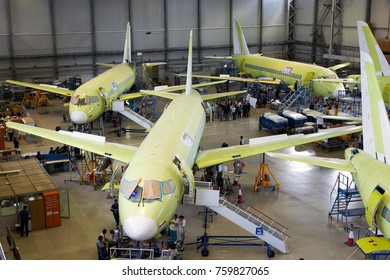 RUSSIA, KOMSOMOLSK-ON-AMUR - JUNE 27, 2014. Final assembly line of aircraft Sukhoi Superjet 100. View from above.