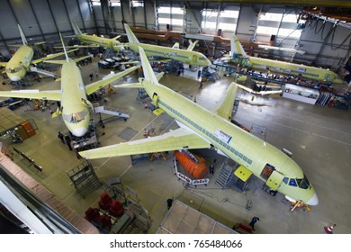 RUSSIA, KOMSOMOLSK-ON-AMUR - JUNE 27, 2014. Final assembly line of aircraft Sukhoi Superjet 100. View from above and on the side.