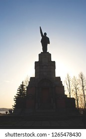 Russia, Kostroma. 04.30.17. Front view on Lenin statue in The Central Park of Kostroma, the statue holds out a hand, possibly, points the way to communism.