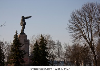 Russia, Kostroma. 04.30.17. Side view on Lenin statue in The Central Park of Kostroma, the statue holds out a hand, possibly, points the way to communism.