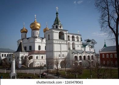 Russia, Kostroma. 04.30.17 View on The Trinity Cathedral in Ipatievsky Monastery, sunny day, Kostroma.