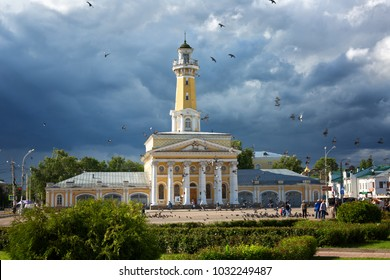 RUSSIA, KOSTROMA - JUNE 27.2017: Old fire-tower before storm