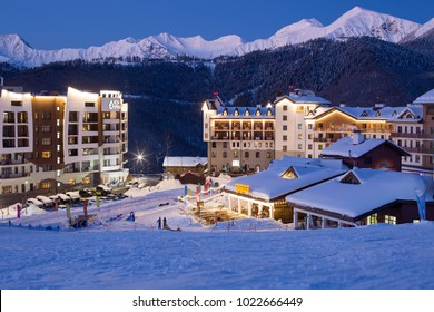 Russia, Krasnaya Polyana, 3 February - 2018: There are a lot of hotels in the Rosa Khutor ski resort