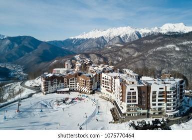 Russia, Krasnaya Polyana, 3 February - 2018: The hotels in the mountains in Rosa Khutor ski resort, Sochi