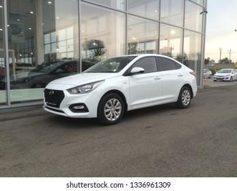 Russia, Krasnodar, 15.08.2017 - Hyundai Solaris. New Hyundai Solaris.