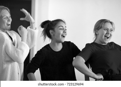 Russia, Krasnodar, 27.09.2017 classes in the theater arts students of the Institute of culture, black-and-white photos, rehearsal spectacle, three girls, happy faces, excited