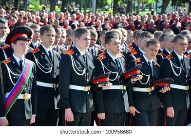 RUSSIA, KRASNODAR - APRIL 21: Cadets on cossack parade on April 21, 2012 in Krasnodar, Russia. 7 thousand Cossacks of historical departments of the Kuban Cossack army