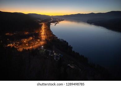 Russia, Krasnoyarsk. Night City. Yenisei River. The view from the observation deck Tsar-Ryba - Shutterstock ID 1289498785