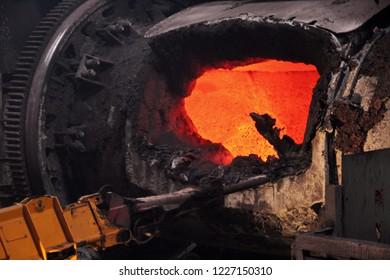 Russia, Krasnoyarsk region. Norilsk. Copper Plant, smelting shop.