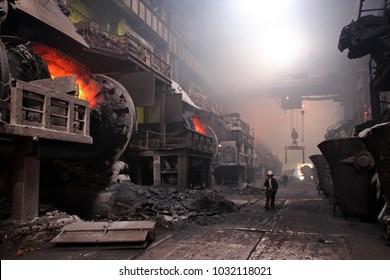 Russia, Krasnoyarsk region. Norilsk. Polar Division of MMC Norilsk Nickel, Copper Plant, smelting shop.