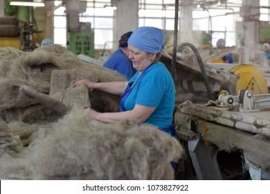 Russia, Kukmor, 26,03,2018 Women work in a felt boots factory